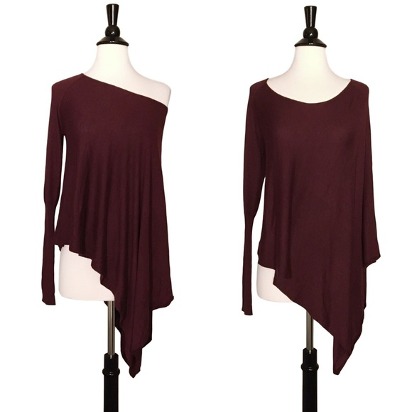 Anthropologie Tops - ✨ Asymmetrical Burgundy Off Shoulder Knit Top