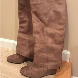Fergie Shoes - MUST SELL🎉Fergie Cognac Wedge Knee-Hi Boots-7.5