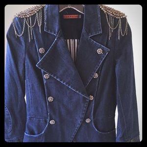 Alice + Olivia Denim Military Rhinestone Jacket