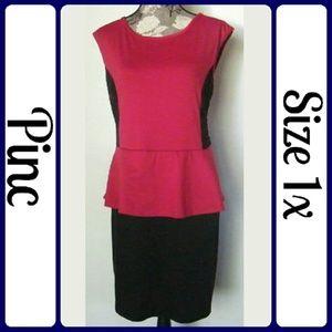 Pinc Premium Dresses & Skirts - Sz 1x Red Black Peplum Dress, Lace insets
