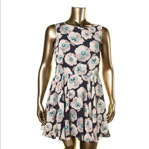 Maison Jules Blue Floral Print Sleeveless Dress XL
