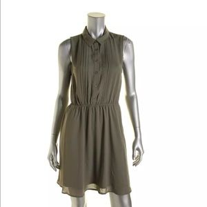 Maison Jules Green Chiffon Sleeveless Shirt dressL