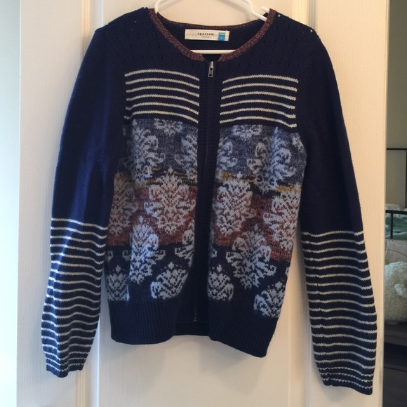 67% off Anthropologie Sweaters - Anthropologie Sparrow Navy Print ...