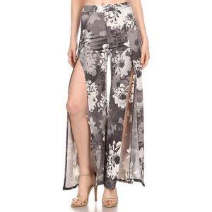 A3 Design Pants - NEW Floral Print Front Slit Dress Pants