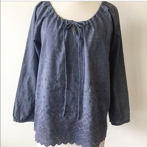 J. Crew embroidered boho eyelet lace tunic top