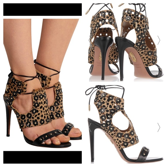 daa874df53e NWT Aquazzura Rebel Studs Cheetah Calf Hair Sandal. Boutique
