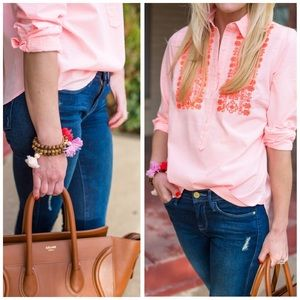 J. Crew Tops - j. crew // neon stripe embroidered popover
