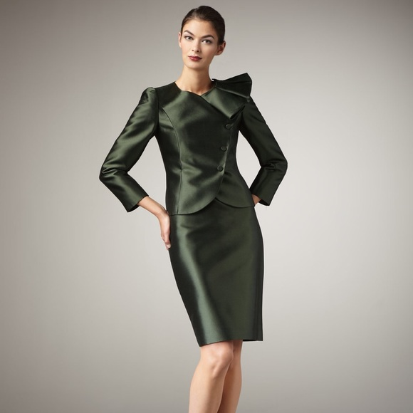 Tahari Jackets Coats Hunter Green Ruffle Collar Skirt Suit Nwt 4