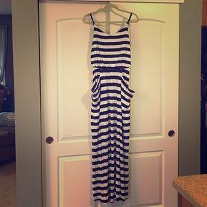 Never worn Gap striped maxi dress with pockets!
