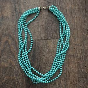 Vintage Aqua Multi-strand Beaded Necklace