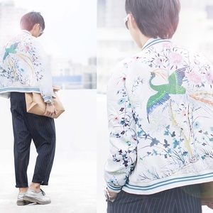 Floral peacock bomber jacket