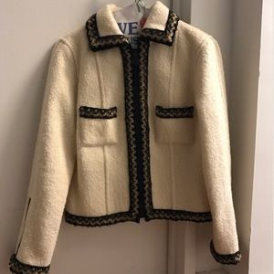 Authentic Vintage CHANEL Cream Wool Jacket Sz 38