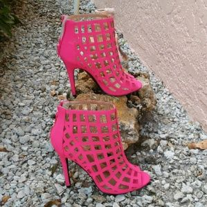 Hot pink Caged heels