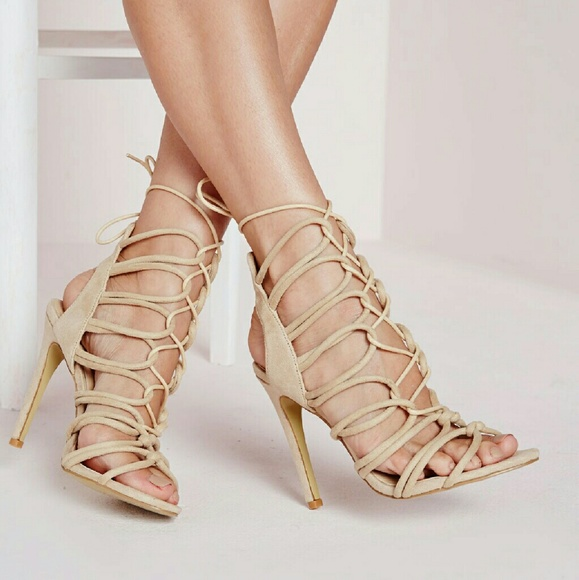 77279ed7b65a Missguided rope lace up gladiator heeled sandals