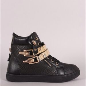 Shoes - Black Wedge High Top Sneakers