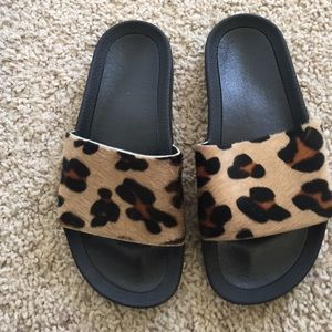 Adidas Adilette Leopard Cow Fur Slides