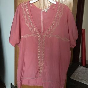 Francesca's Collections Tops - Pink Peasant Style Top