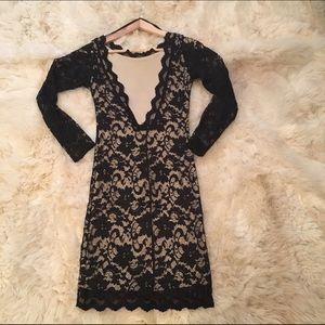 Lace Little Black Dress Plunging Backless