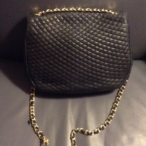 Bally Bags Vintage Quitled Bag With Gold Chain A Blue