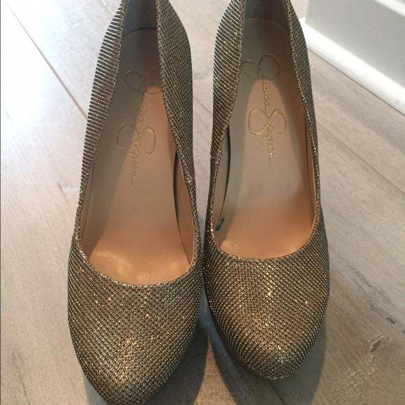 376d84fba27 Jessica Simpson Shoes - Jessica Simpson Bette-champagne gold sparkle heels