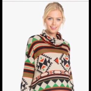 Aztec Knit Cowl Neck pullover Sz SMALL and large