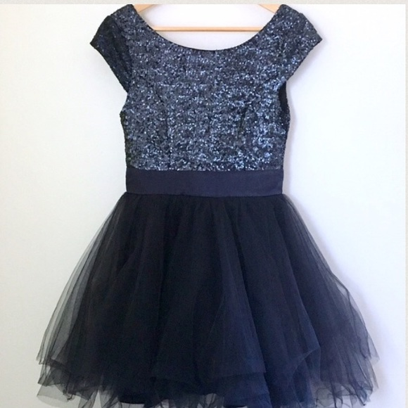 Trixxi Dresses & Skirts - Navy Blue Sequin and Tulle Party Dress