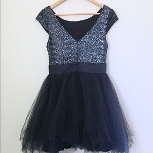 Trixxi Dresses - Navy Blue Sequin and Tulle Party Dress