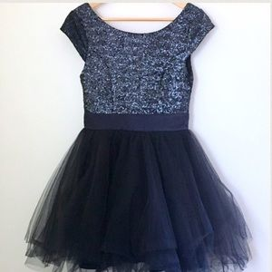Navy Blue Sequin and Tulle Party Dress