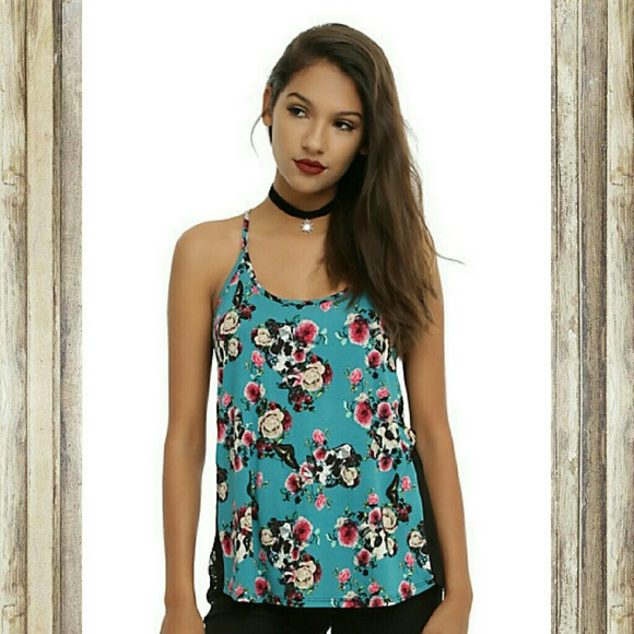 Hot Topic Tops - Teal Pink & Black Floral Skull Lace Girls Tank Top