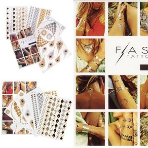 Flash Tattoo Accessories - Metallic Gold + Silver Temporary Tattoos