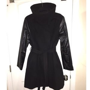 H&M Black Coat w/ Faux Leather Sleeves