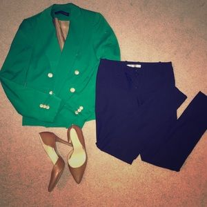Green and Gold Accented Blazer   Zara Woman