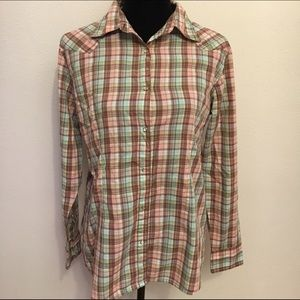 Wranglers women's snap up plaid shirt. Western