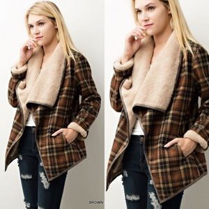 Jackets & Blazers - Fur Lined Plaid Jacket-BROWN