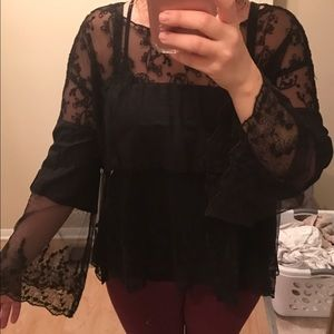 Free People Tops - Free People Lace Bell Sleeve Blouse