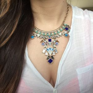 LAST ONE Turquoise Crystal Statement Necklace