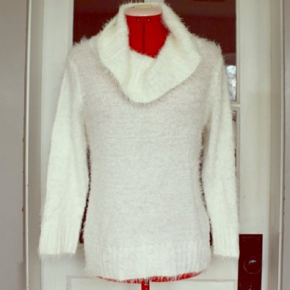 68% off jcpenney Sweaters - Fuzzy Off White Cowl Neck Sweater from ...