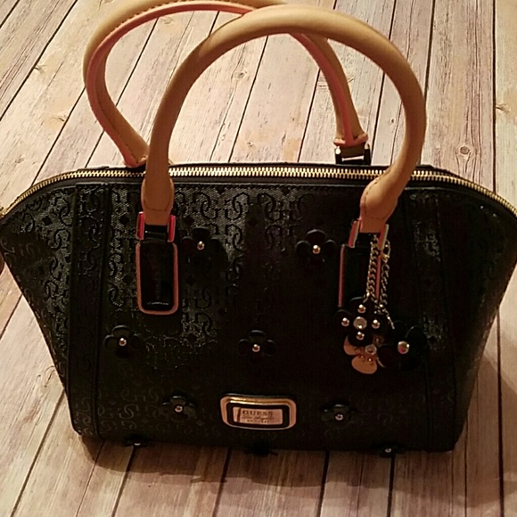 Guess Handbags - Guess Black Flower Accent Purse