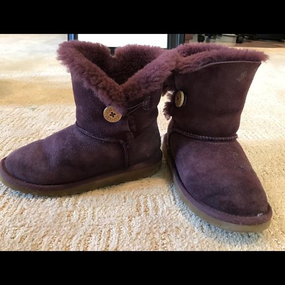 Ugg Bailey Button Boots Dark Purple Kids