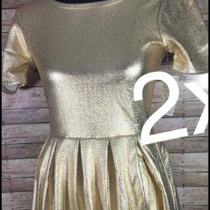 LuLaRoe Dresses - Lularoe 2xl gold Amelia