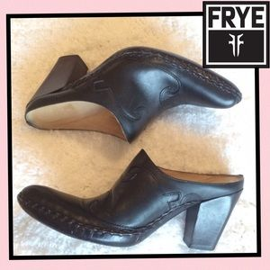 Darling Frye black leather boot mules