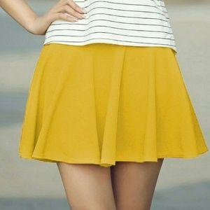 Mustard-Yellow Skater Flared Mini Skirt