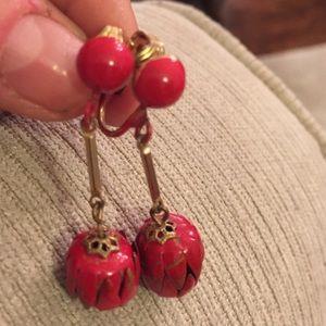 Red clip Art Deco dangling ball earrings. patina +