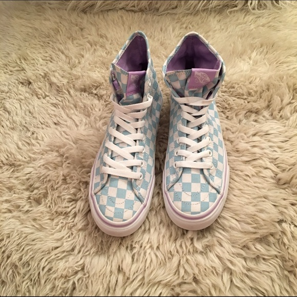 Vans Shoes | Baby Blue Checkered High