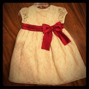Sweet Heart Rose Other - Beautiful cream and gold dress with burgundy bow