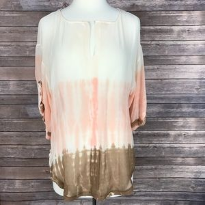 Anthropologie Tops - Anthropologie {Language}Tie-dye Ombré Sheer Blouse