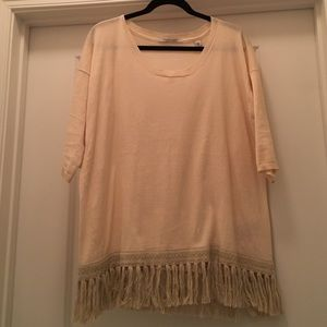 Maison Scotch Tops - Scotch Soda Fringed Cotton Tee