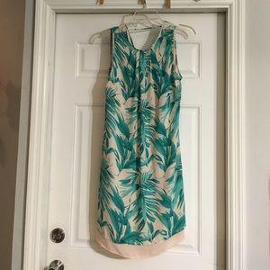 Palm print shift dress