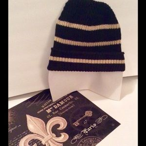 Tan and Black stripe cotton knit beanie hat