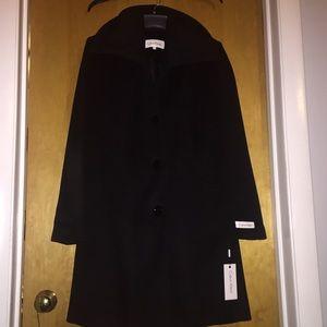 NWT Calvin Klein long black wool peacoat size 2